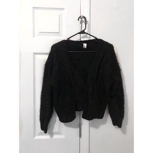H&M Medium Black Faux Fur Cardigan